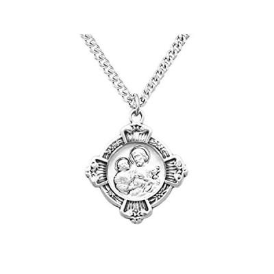 Rosemarie's 宗教ギフト スターリングシルバー 聖ヨセフ十字架メダルペンダントネックレス 24インチ 並行輸入