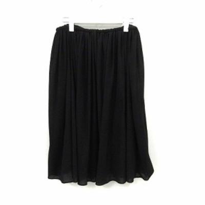 【中古】アデル クチュリエ adele couturier スカート ひざ丈 フレア M 黒 ブラック /YO8 レディース