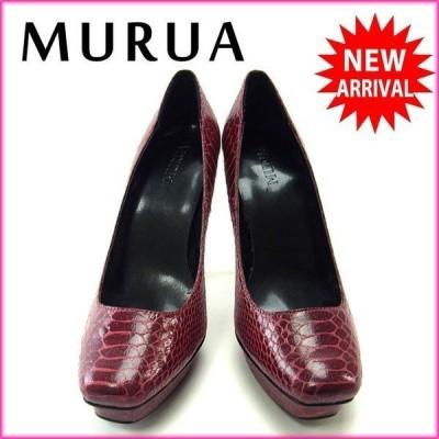 ムルーア MURUA パンプス スクエアトゥ シューズ 靴 レディース ♯23.5 ハイヒール パイソン柄