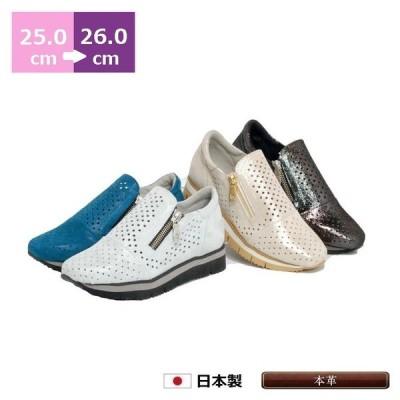 パンチング スニーカー 25cm 25.5cm 26cm ヒール 3cm カジュアル ローヒール ラウンドトゥ ファスナー付 ジッパー 革 日本製 レディースシューズ 婦人靴