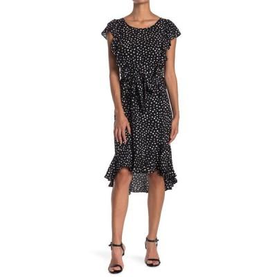 マックスタジオ レディース ワンピース トップス Printed Flutter Sleeve Tie Waist Dress BKIVSNWD