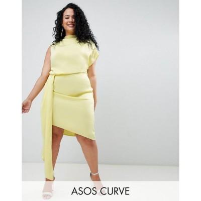 エイソス ドレス 大きいサイズ レディース ASOS DESIGN Curve Satin Midi Dress Sash エイソス ASOS