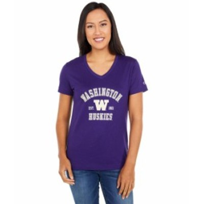 チャンピオン レディース シャツ トップス Washington Huskies University 2.0 V-Neck T-Shirt Champion Purple