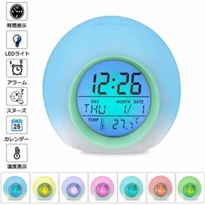目覚まし時計 アラーム デジタル LED7色バックライト スヌーズ機能付き 大音量 カレンダー付 気温表示 日本語説明書 設定簡単