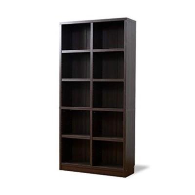 moca company 頑丈書棚 幅90 A4対応 大容量 重厚 本棚 オープン ディスプレイ ラック 奥行30 木製 ブラウン
