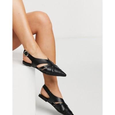 エイソス ASOS DESIGN レディース スリッポン・フラット シューズ・靴 Mazed cutout slingback flat shoes in black ブラック