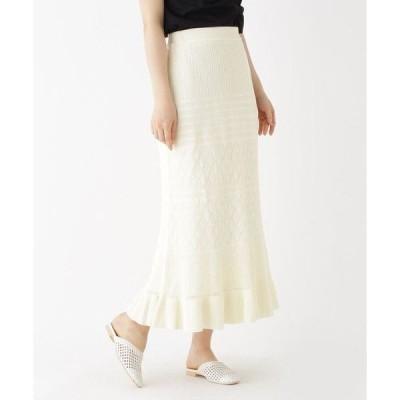 AG by aquagirl / エージー バイ アクアガール 【洗える】レーシーアイレットロングニットスカート