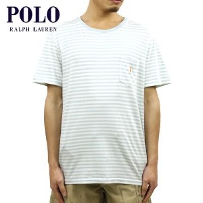ポロ ラルフローレン Tシャツ 正規品 POLO RALPH LAUREN 半袖Tシャツ  Striped Pocket T-Shirt BLUE