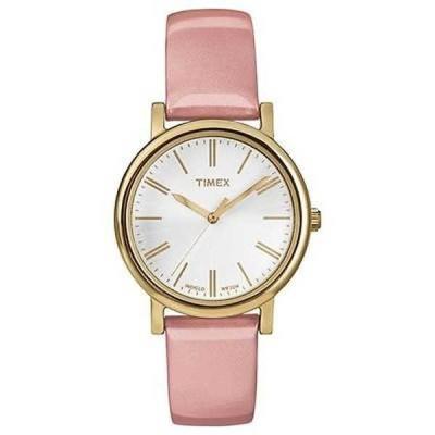 腕時計 タイメックス Timex T2P332 レディース ゴールド トーン クラシック Originals Indiglo ピンク レザー バンド 腕時計