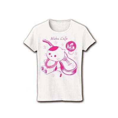 アロハ・カフェ「猫とウクレレ」 (ピンク) リブクルーネックTシャツ(ホワイト)