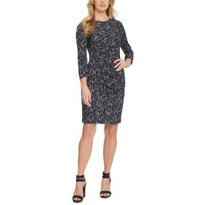 ダナ キャラン ニューヨーク ワンピース トップス レディース Printed Ruched Dress Black/ivory
