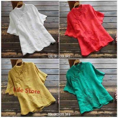 ブラウス レディース 夏 リネン 刺繍 トップス チュニック 半袖 シャツブラウス チャイナ風 無地 体型カバー ゆったり 大きいサイズ