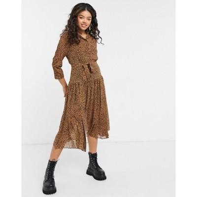 スタイルチート レディース ワンピース トップス Style Cheat pleated shirt midi dress with pocket details in leopard print