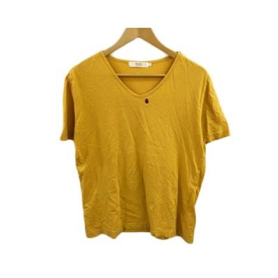 【中古】ビームスライツ BEAMS Lights Tシャツ カットソー Vネック 刺繍 半袖 L 黄 マスタード イエロー レディース 【ベクトル 古着】
