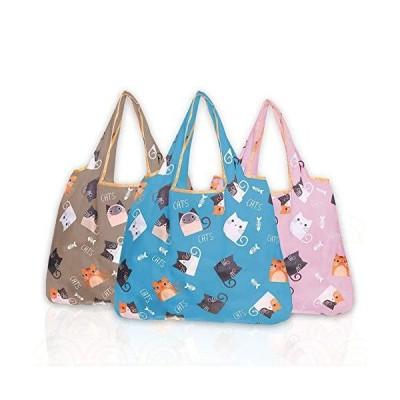 エコバッグ 猫柄 買い物袋 折りたたみ ハンドバッグ 可愛い コンビニバッグ 人気 繰り返し可 ワンショルダーバッグ ポーチ付 コンビニバッグ 20k