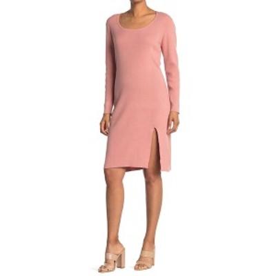 スティッチドロップ レディース ワンピース トップス Scoop Neck Rib Knit Slit Sweater Dress ROSAY