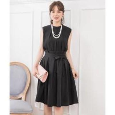 DRESS STAR(ドレス スター)プチハイネックタックブラウス×ウエストリボンAラインスカート【お取り寄せ商品】