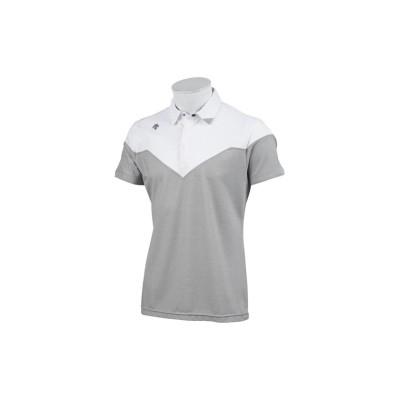【デサントゴルフ】 アクセンシャルゼブラ鹿の子シャツ メンズ グレー系 L DESCENTE GOLF