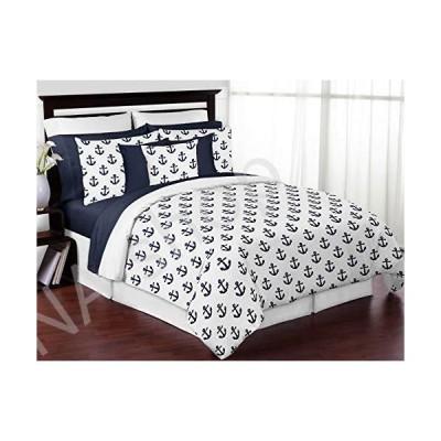 Sweet Jojo Designs ネイビーブルー ホワイト 錨 男の子 女の子 フル/クイーン 寝具 掛け布団セット 子供用 サイズ - 3
