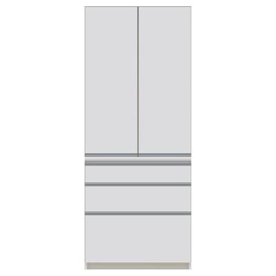 本州・四国は開梱設置無料 パモウナ 食器棚CI 幅80×奥行44.5×高さ198cm CI-S800K パールホワイト キッチンボード ダイニングボード 代引不可