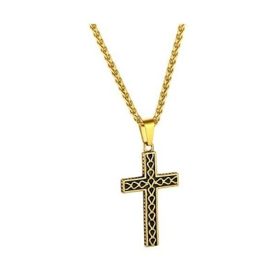 FindChic 十字架 クロス ネックレス ペンダントトップ メンズ ゴールド 18金 k18 アンティーク風 かっこいい