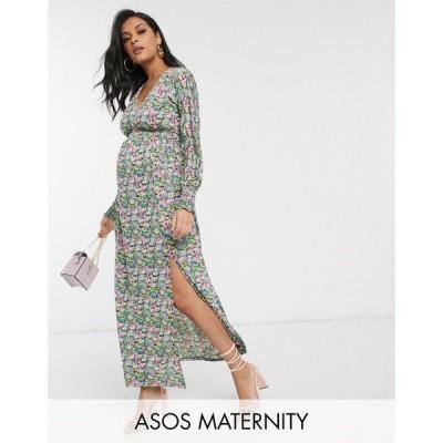エイソス ASOS Maternity レディース ワンピース マタニティウェア ASOS DESIGN Maternity maxi dress with shirred waist in floral print マルチカラー