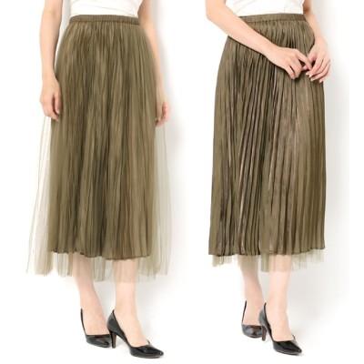 【テチチ/Te chichi】 チュール×サテンフレアスカート
