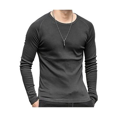 [ミックスリミテッド] ロンT 長袖Tシャツ メンズ タイト ラグラン 無地 Uネック コットン カットソー mixt1020-DGRY-XL