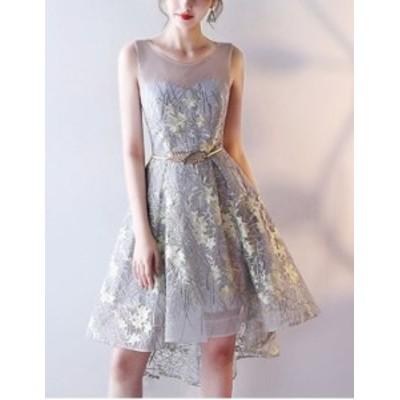 ワンピース シースルー ボタニカル 刺繍 ドレス 結婚式 パーティー フィッシュテール 花柄 お呼ばれ