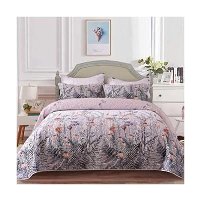 Mefinia フローラル軽量キルトセット 90インチ x 96インチ キルトベッドスプレッド ベッドカバー 花柄 掛け布団 寝具カバー