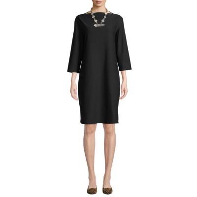 エイリーンフィッシャー レディース ワンピース トップス 3/4-Sleeve Washable Stretch-Crepe Dress