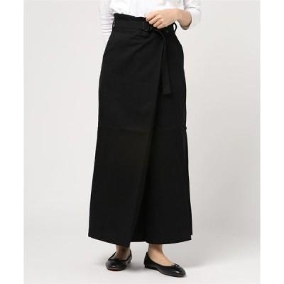 スカート 綿ツイルベルト付きタックロングスカート
