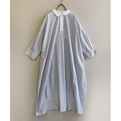 <BASCO(Women/大きいサイズ)/バスコ> ロンハワンピース MIXグレー メンズライクな綿ストライプと柔らかコットンリネンのシャツドレス MIXグレー【三越伊勢丹/公式】