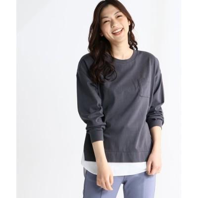 (Honeys/ハニーズ)異素材使いTシャツ/レディース ブラック