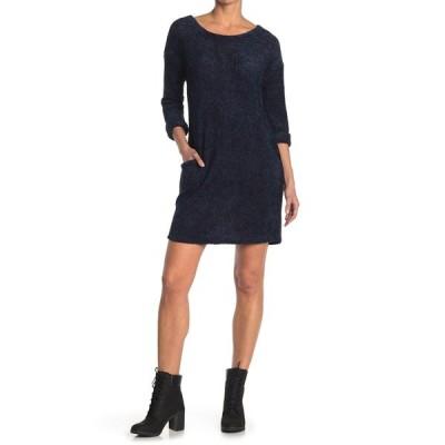 パピロン レディース ワンピース トップス Chenille 3/4 Sleeve Sweater Dress NAVY