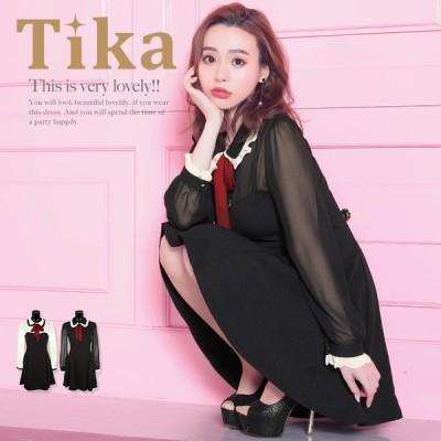 キャバドレス キャバ ドレス キャバクラドレス 袖あり Tika ティカ ボウタイ リボン シフォン フレアドレス ミニドレス ホワイト ブラック 白 黒 Mサイズ