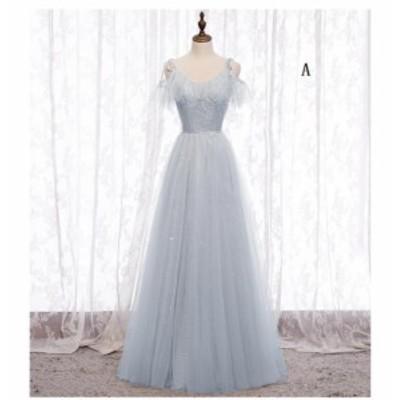 ロング丈ドレス パーティードレス 結婚式ドレス キレイめ 演奏会 ウエディングドレス aライン 上品 大きいサイズ マキシワンピース お呼