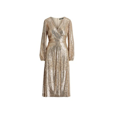 LAUREN RALPH LAUREN 7分丈ワンピース・ドレス ゴールド 4 ナイロン 95% / ポリウレタン 5% 7分丈ワンピース・ドレス