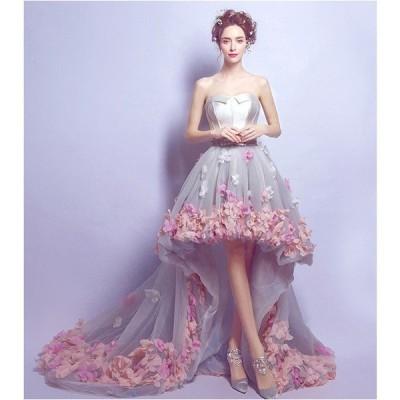花柄 セクシー 披露宴ウエディングドレス カラードレス ロングドレス パーティードレス 姫系ドレス お花嫁ドレス 刺繍 豪華 結婚式 リボンドレス