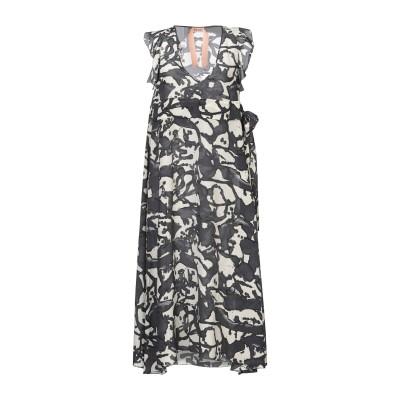 ヌメロ ヴェントゥーノ N°21 7分丈ワンピース・ドレス グレー 44 シルク 100% 7分丈ワンピース・ドレス