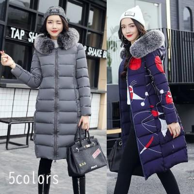 中綿コート アウター 韓国風 暖かい レディース ダウンコート 可愛い 2way 両面着 ダウンジャケット ロングコート 冬服 防寒着 フード付き 中綿ジャケット