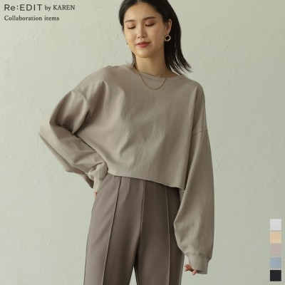Re:EDIT [Re:EDIT by KAREN(リエディバイカレン)]ヘビーウェイトショート丈ロンT ブルー L レディース