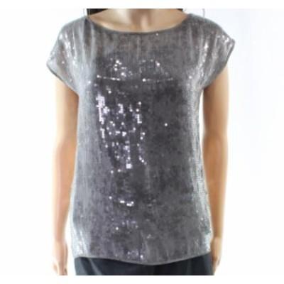 Eileen Fisher アイリーンフィッシャー ファッション トップス Eileen Fisher NEW Gray Womens Size PP Petite Sequin Solid Shiny Blous