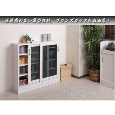 カウンター下ガラス引戸収納 幅89.5 高さ85.5cmWH (完成品) no-0034(送料無料)(キッチン、食器棚、キッチン