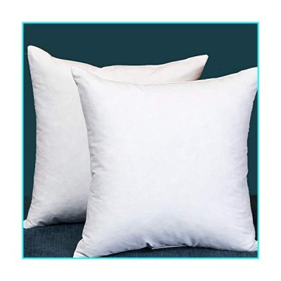 Set of 2 18X18 Square Decorative Down & Feather Throw Pillow Insert, 100% Cotton, White