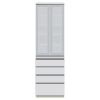 サイズが豊富な高機能シリーズ 食器棚引き出し 幅60奥行45高さ198cm/パモウナ VZ-S600K ホワイト