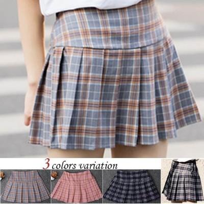 春 新作 ミニスカートプ リーツスカート チェック柄 レディース Aライン 大きいサイズ おしゃれ 可愛い