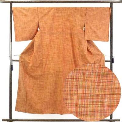 リサイクル着物 紬 正絹茶オレンジ地先染袷紬着物未使用品