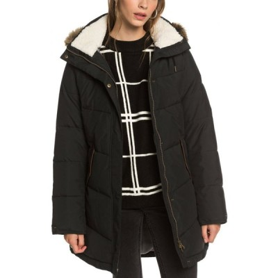 ロキシー ROXY レディース ダウン・中綿ジャケット フード アウター Ellie Waterproof Hooded Puffer Jacket with Removable Faux Fur Trim True Black