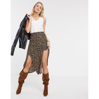 リバーアイランド レディース スカート ボトムス River Island leopard print split midi skirt